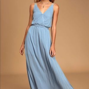 Lulu's Lost in Paradise slate blue maxi dress